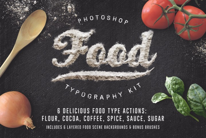Download Food Typography Photoshop Actions